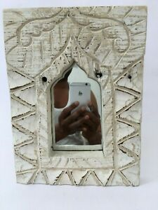 Vintage Hand Carved Wooden Engraved  Mirror Wall Frame Temple Home Decorative
