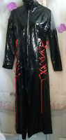Gothic/punk/stagewear.Pvc Black&Red Laced corsettry-side&back.Long Coat size 12.