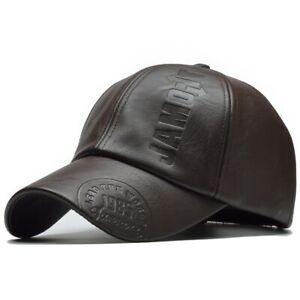 PU Leather Men Women Hat Winter Warm Cowhide Baseball Cap Motorcycle Hats