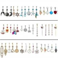 60-Styles Flower Crystal 316L Steel Dangle Navel Belly Button Ring Bars Piercing