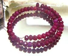 "RARE NATURAL CHERRY RED FACETED RUBY BEADS RUBIES 8.25"" STRAND 62.5cts 5mm"