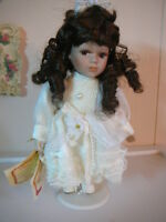"Doll Collector's Choice Vintage Doll Bisque Porcelain 6"" Dark Skin Brunette"