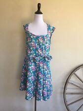 LINDY BOP Vintage 50's Style Blue Pink Floral Rockabilly Swing Retro Dress L New