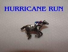 NEW HURRICANE RUN HAND PAINTED HORSE RACING JOCKEY SILKS PIN IRISH DERBY
