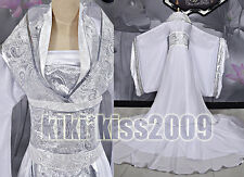 China Kimono Fairy Girl's Sliver&White Dress Cosplay Custom-Made Han Fu/wedding