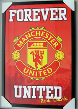 "MANCHESTER UNITED FC framed POSTER ""LOGO"" READY TO HANG Soccer FRAME"