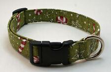 Holiday Peppermints & Snowflakes on Green Dog Collar Adjustable Handmade Custom