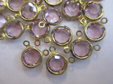 24 Swarovski Light Amethyst Channels in 2-Ring Brass Settings - 9mm - Sparkle