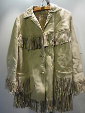 Vintage 1950 60s OffWhite Leather Fringed Jacket Western Cowgirl Coat Rockabilly
