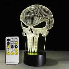 3D Bulbing Light Hologram Illusion Punisher Skull LED Desk Lamp Halloween Decor