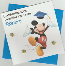 Personalised Handmade Mickey Mouse Graduation/Exam Congratulations Card