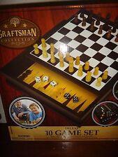 CRAFTSMAN 10 GAME Set Chess Checkers Backgammon Mancala Pick up Sticks Mill&More