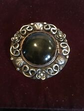 Los Ballesteros Mexico Silver Shimmery Obsidian Pendant/Pin W Chain TAXCO