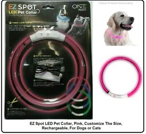 EZ Spot LED Pet Collar, Pink, Customize The Size, Rechargeable, For Dogs or Cats