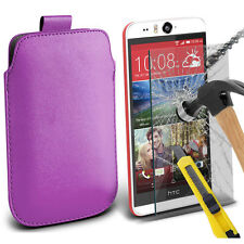 Light Purple PU Leather Pull Tab Case Pouch & Glass for Htc Desire Eye