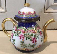 Limoges France Teapot Tea Service Handled Hinged Trinket Box Peint Main Rare
