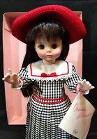 "Vintage Madame Alexander Gigi Vinyl Doll 13"" Checkered Dress Red Hat Stand & Box"