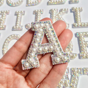 A-Z Pearl Patches Rhinestone Sew Iron on Applique Letter Alphabet Garment Badge