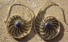 Handmade brass Indian ethnic design earrings blue cabochon stones