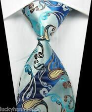 New Paisleys Stripes Blue Brown Beige JACQUARD WOVEN 100% Silk Men's Tie Necktie