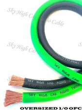 20 ft OFC 1/0 Gauge Oversized 10' GREEN & 10' BLACK Power Ground Wire Sky High