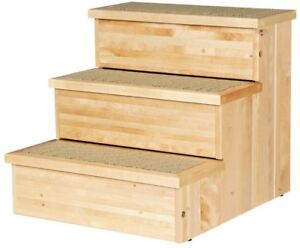 Pet Stairs 15.5 in. W x 17.5 in. L x 14.75 in. H Wooden Natural with Storage