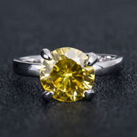Women Fashion 925 Silver Jewelry Round Cut Citrine Wedding Party Ring Size 6-10