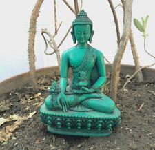 "Medicine Buddha Green Color Tibetan Healing Resin 5.5"" Statue"