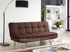 Fabric Sofa Bed 3 Seater Padded Sofabed Chrome Legs Cube Design Various Colours Brown