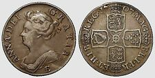 1707 E Below bust Queen  Anne one shilling silver coin