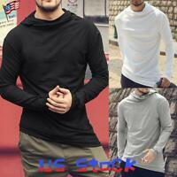 Men Long Sleeve T-Shirt Hoodies Tops Basic Hooded Blouse Hipster Sweatshirts US