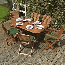 Garden Dining Set Foldable Table Seat Cushions Chairs Armchairs Patio Furniture