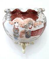 Satsuma Kutani Japanese Moriage Porcelain 3 Footed Scalloped Vase Bowl Signed
