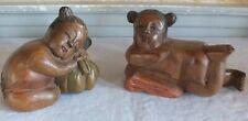 2 sculptures bois jeunes filles Asie