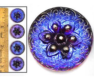 18mm Czech Glass Blue Purple FLASH AB SHANKLESS No Shank Button Cabochons 4pc