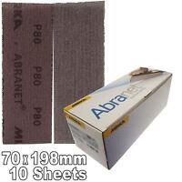Mirka Abranet 70x198mm P80 Grit 10x HookNLoop Dust Free Sanding Abrasive Strips