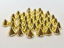 200 Golden Metallic Rock Punk Spike Rivet Acrylic Taper Stud Beads 8X8mm