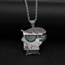 Dexters Lab Iced Out Pendant Diamond Silver 14k Chain UK SELLER