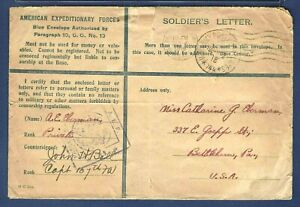 A.E.F. France Blue Envelope Soldier's Mail 1918 Cover Passed Army Censor