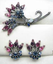 Vintage FLORENZA Signed Pink Purple Blue Brooch Pin & Earrings Demi Set
