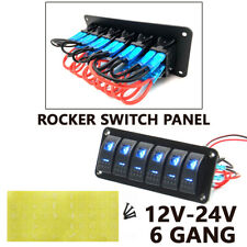 6 Gang Rocker Switch Control Panel BLUE LED Circuit Charger Race Car Marine Boat