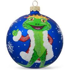 Frog King Glass Ball Christmas Ornament 4 Inches