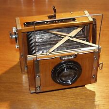 CONTESSA NETTEL Deckrullo TROPICAL WOOD 1920 VINTAGE CAMERA 18cm f4.5 CZJ Tessar