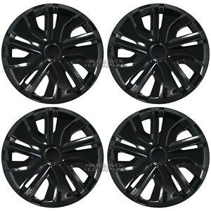 "14"" Set of 4 Black Wheel Covers Snap On Full Hub Caps fit R14 Tire & Steel Rim"