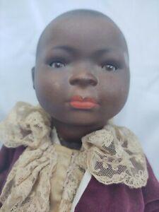 """ANTIQUE BLACK BISQUE BABY  ORIGINAL BODY GERMAN UNKNOWN MAKER 16""""  KARL BAUMAN?"""