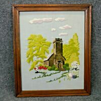 Completed Framed Crewel Needlepoint'Church in Woods' Colorful 18 x 21.5 inch