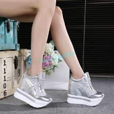 Women Hidden Wedge Heels Sneaker 2017 Mesh Platform Casual Shoes Creepers New