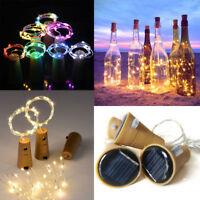Solar Power Cork Shaped 20 LEDs Night Fairy String Light Wine Bottle Lamp