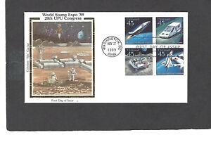 #C122-5 45c UPU FUTURISTIC MAIL FDC-WASHINGTON,DC NOV 27-1989 COLORANO SK CACHET