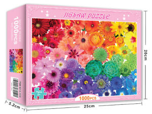 Jigsaw Puzzles 1000 Pieces Colorful Flowers Learning Gift Toy Game for Adult